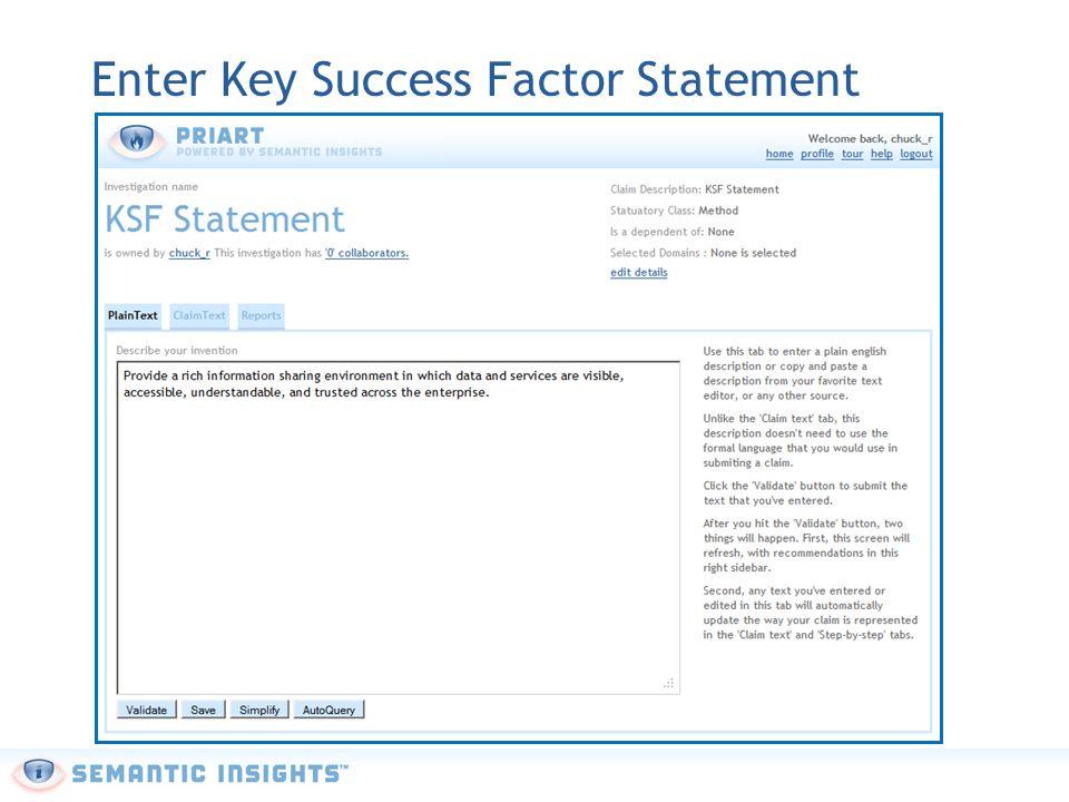Enter Key Success Factor Statement