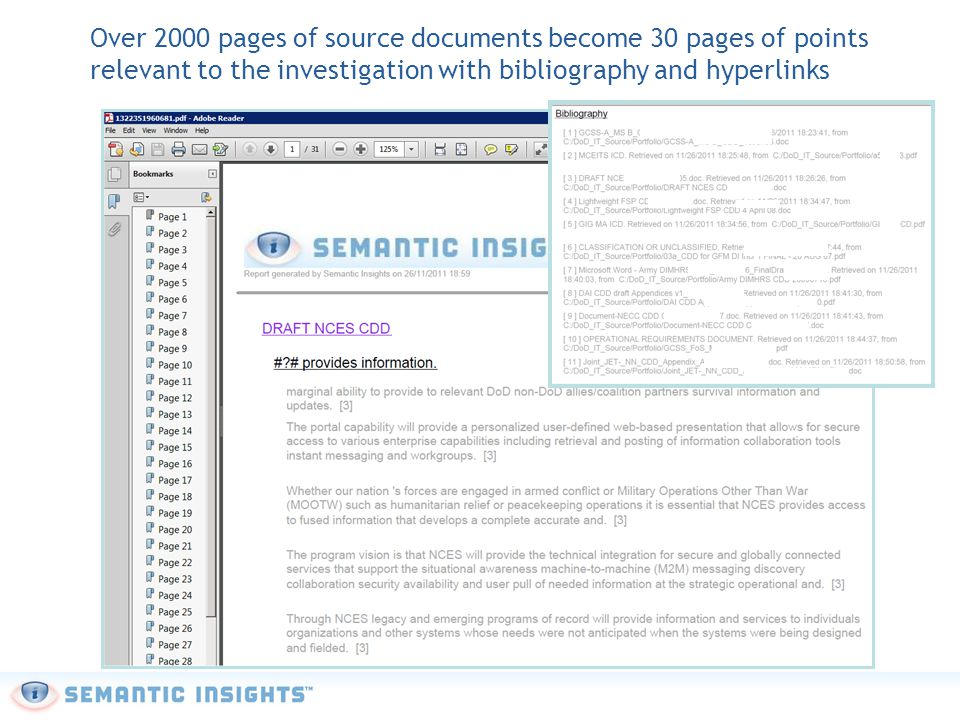 Over 2000 pages of source documents become 30 pages of points relevant to the investigation with bibliography and hyperlinks