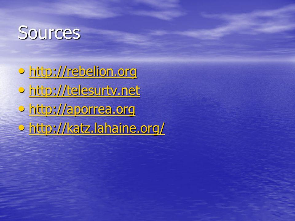 Sources http://rebelion.org http://rebelion.org http://rebelion.org http://telesurtv.net http://telesurtv.net http://telesurtv.net http://aporrea.org http://aporrea.org http://aporrea.org http://katz.lahaine.org/ http://katz.lahaine.org/ http://katz.lahaine.org/