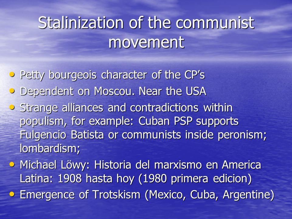 Stalinization of the communist movement Petty bourgeois character of the CP's Petty bourgeois character of the CP's Dependent on Moscou.