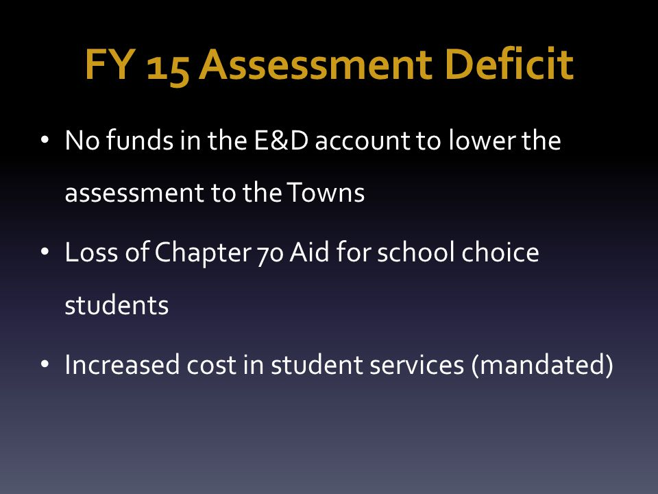 FY 15 Assessment Deficit No funds in the E&D account to lower the assessment to the Towns Loss of Chapter 70 Aid for school choice students Increased cost in student services (mandated)
