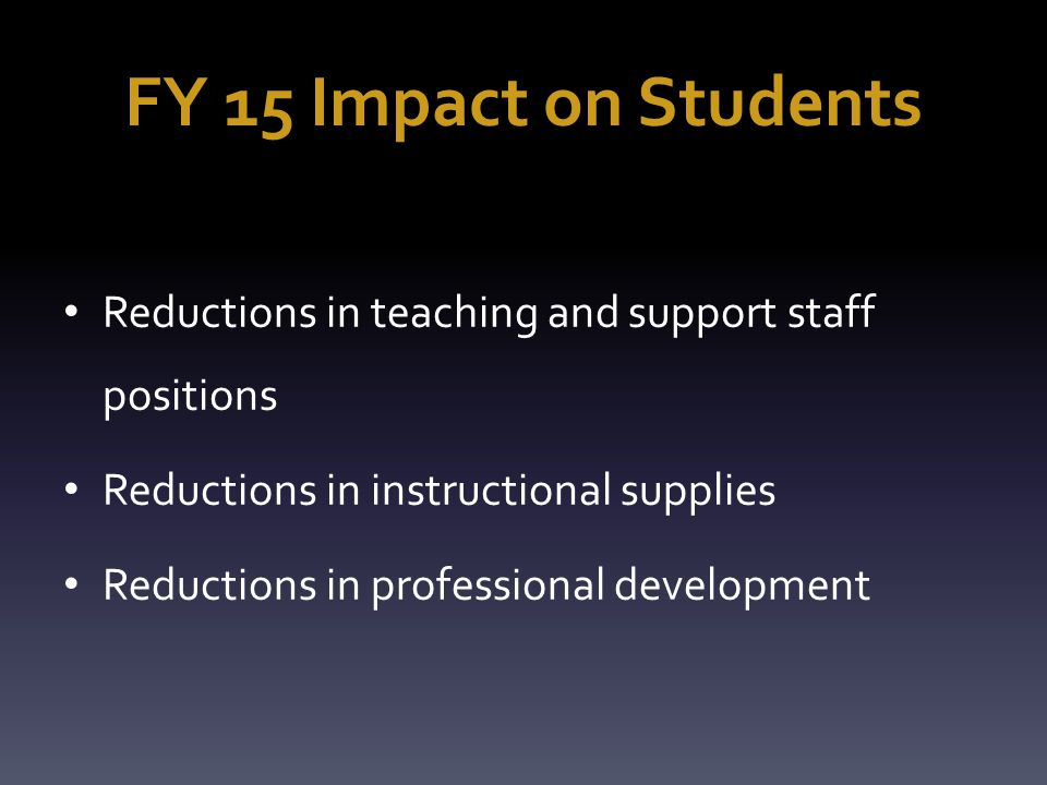 FY 15 Impact on Students Reductions in teaching and support staff positions Reductions in instructional supplies Reductions in professional development