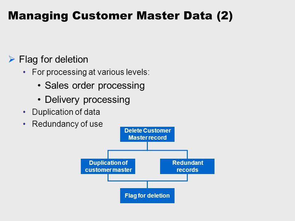 Managing Customer Master Data (2)  Flag for deletion For processing at various levels: Sales order processing Delivery processing Duplication of data