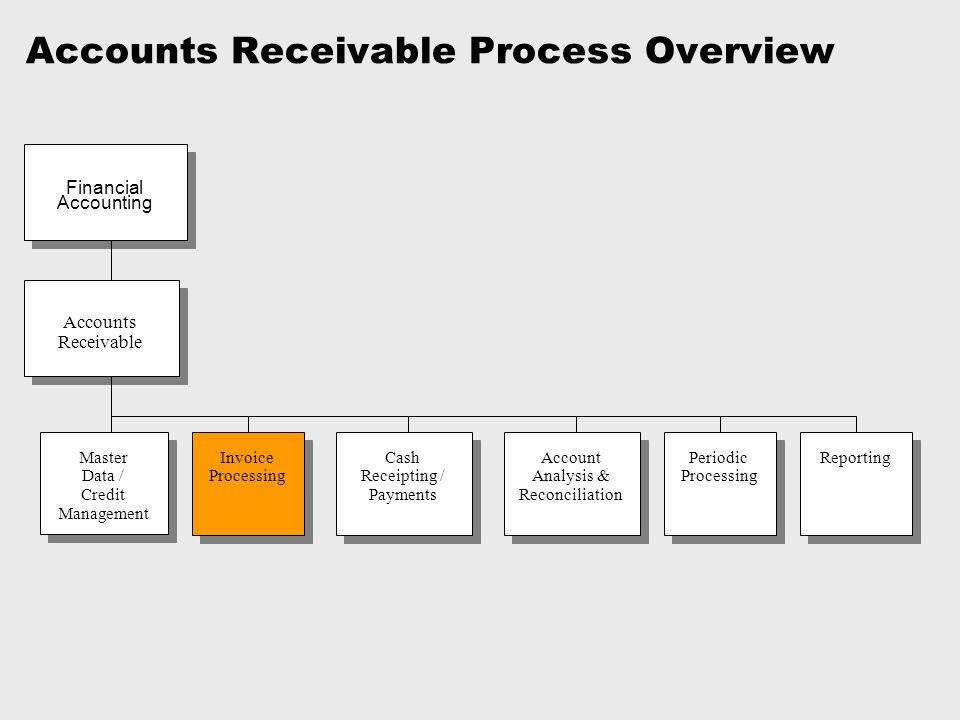 Accounts Receivable Process Overview Invoice Processing Master Data / Credit Management Accounts Receivable Cash Receipting / Payments Account Analysi