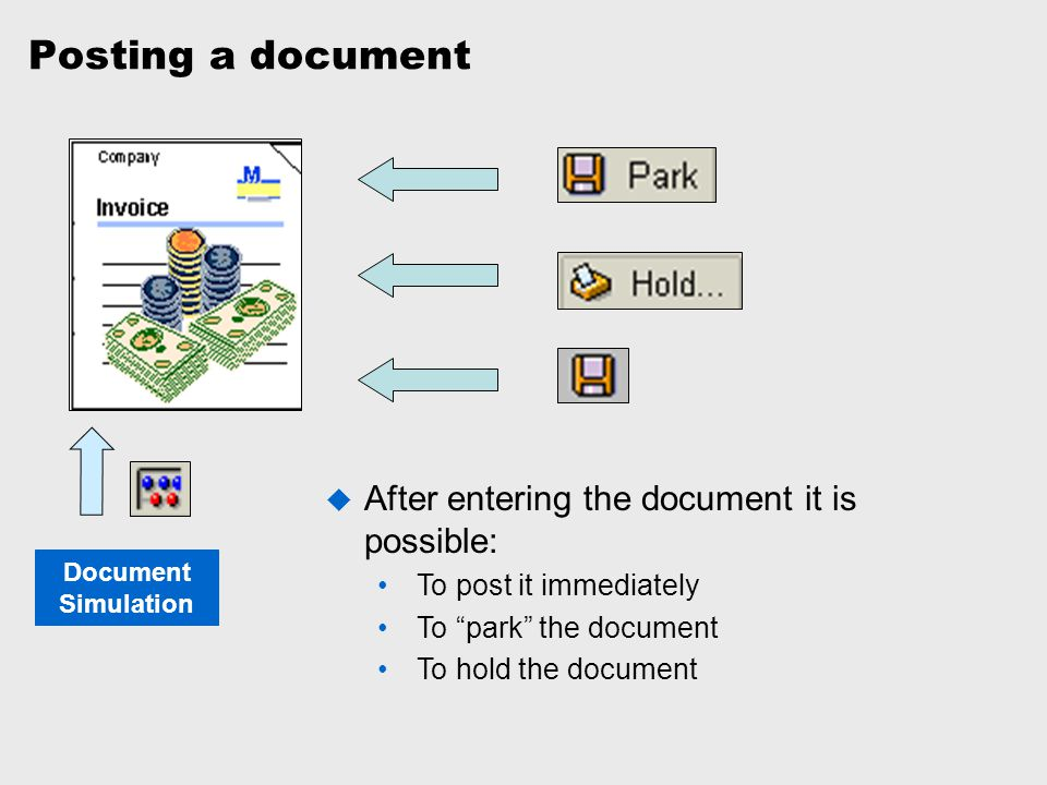 """Posting a document Document Simulation  After entering the document it is possible: To post it immediately To """"park"""" the document To hold the documen"""