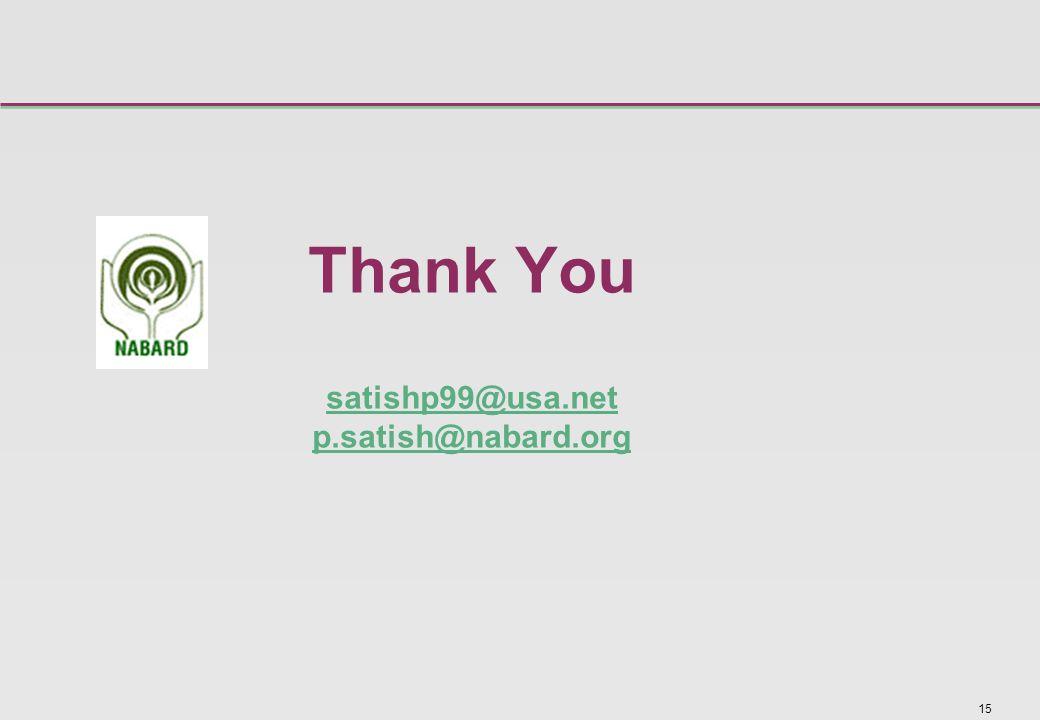15 Thank You satishp99@usa.net p.satish@nabard.org satishp99@usa.net p.satish@nabard.org