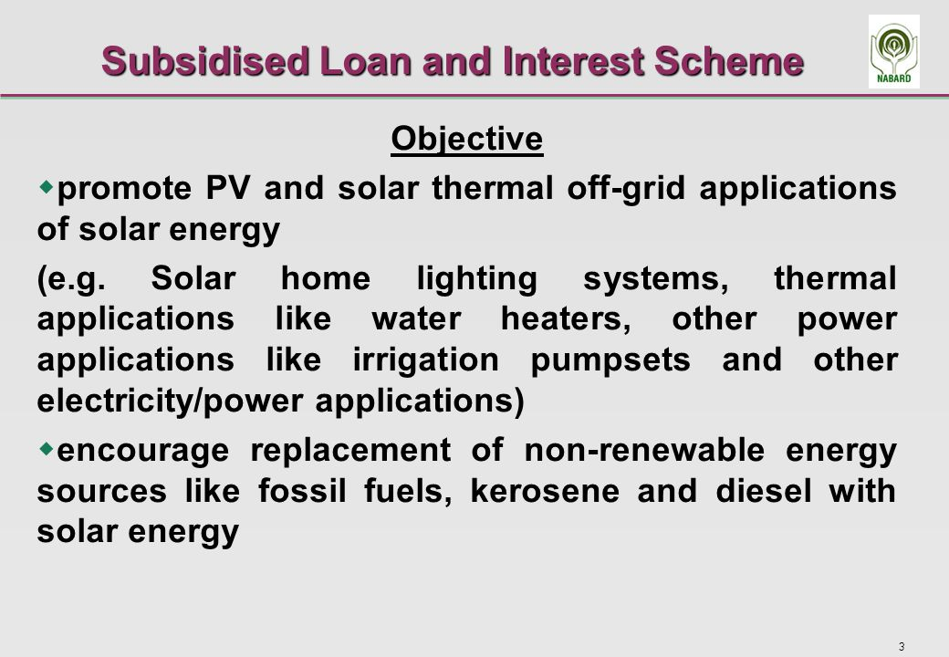 4 Features of the Scheme-1 Scheme administered by NABARD, funding by Ministry of New and Renewable Energy of Government of India through Indian Renewable Energy Development Agency Participating Banks - Commercial Banks/ Rural Banks To cover 9 pre-approved models of Solar Home Lighting Systems (10-200 Wp) and Flat Plat and Evacuated Tube Collector based Solar Water Heating Systems Pre-approved SHLS models of higher capacity to be added in due course Other Solar Applications like energisation of pumpsets to follow 30% of the cost (subject to the boundary conditions) to be provided as capital subsidy and 50% as subsidised loan (5% interest p.a.), the balance(20%) being the margin money