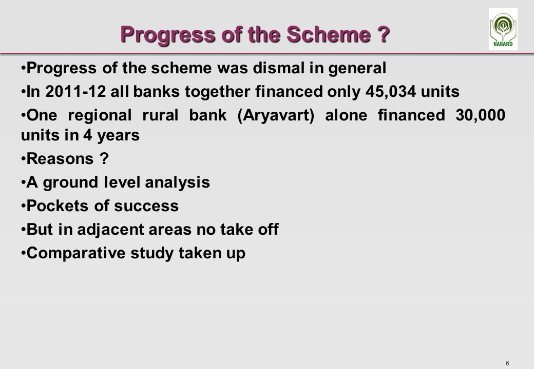 7 Scheme implementation in District A-1 Financing banks had previous experience of financing solar home lighting systems The regional rural bank had financed under NABARD's pilot subsidy scheme The main commercial bank was a sponsor bank of this RRB and its senior official had earlier experience with this scheme Large number of small borrowers needed convincing regarding utility of the scheme An assured handholding set up was needed Branch staff could not do it Banks entered into an agreement with a local NGO and Extension Centre of Agricultural University (KVK) to popularise the scheme