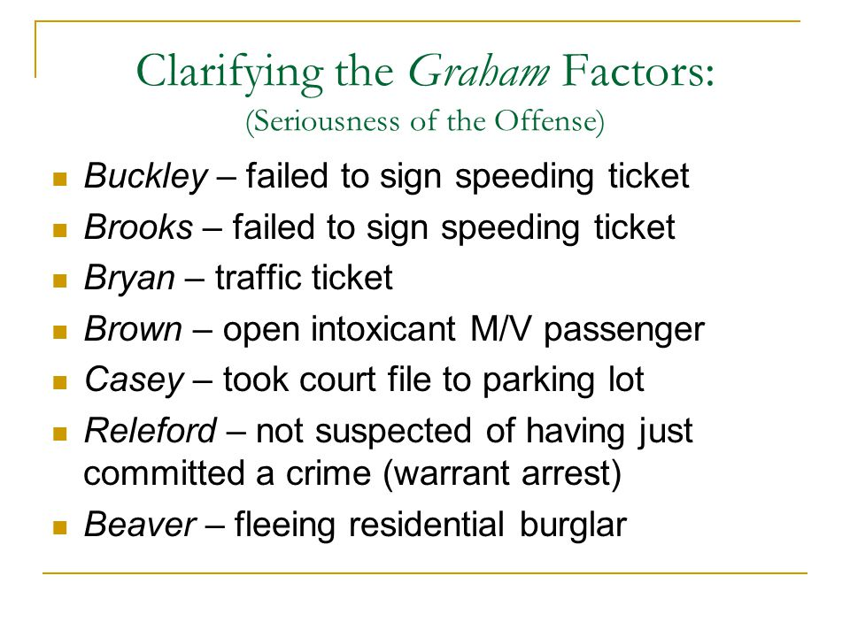 Clarifying the Graham Factors: (Seriousness of the Offense) Buckley – failed to sign speeding ticket Brooks – failed to sign speeding ticket Bryan – t