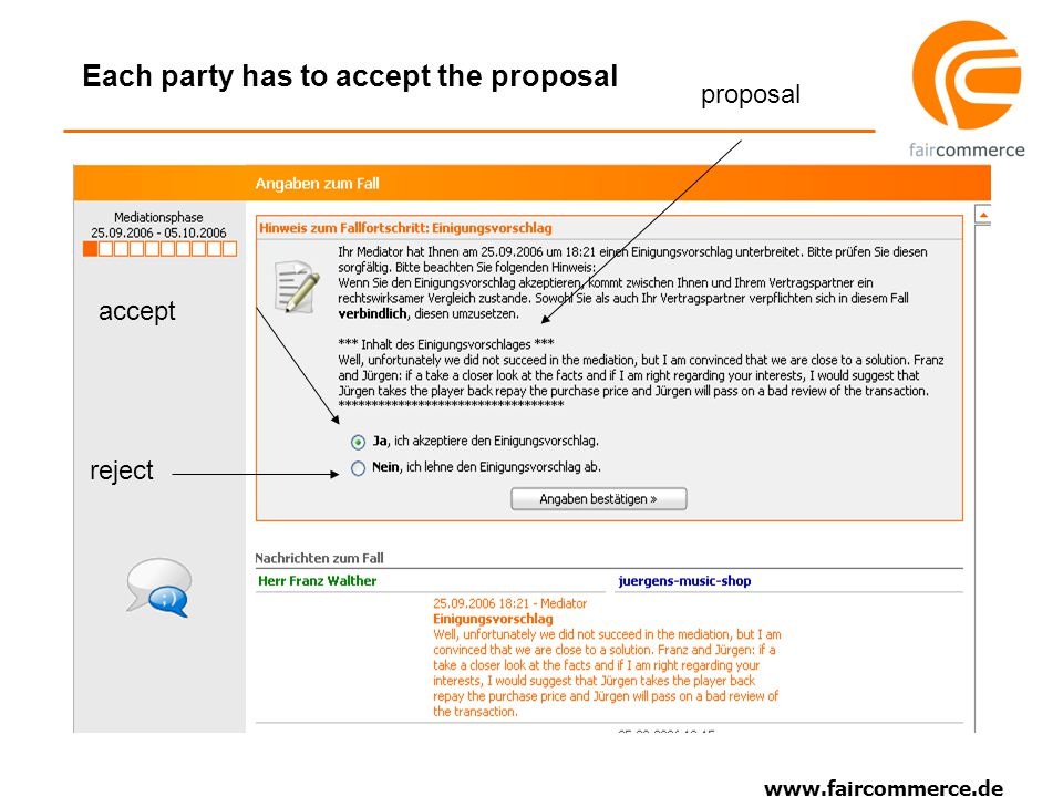 www.faircommerce.de Each party has to accept the proposal accept reject proposal