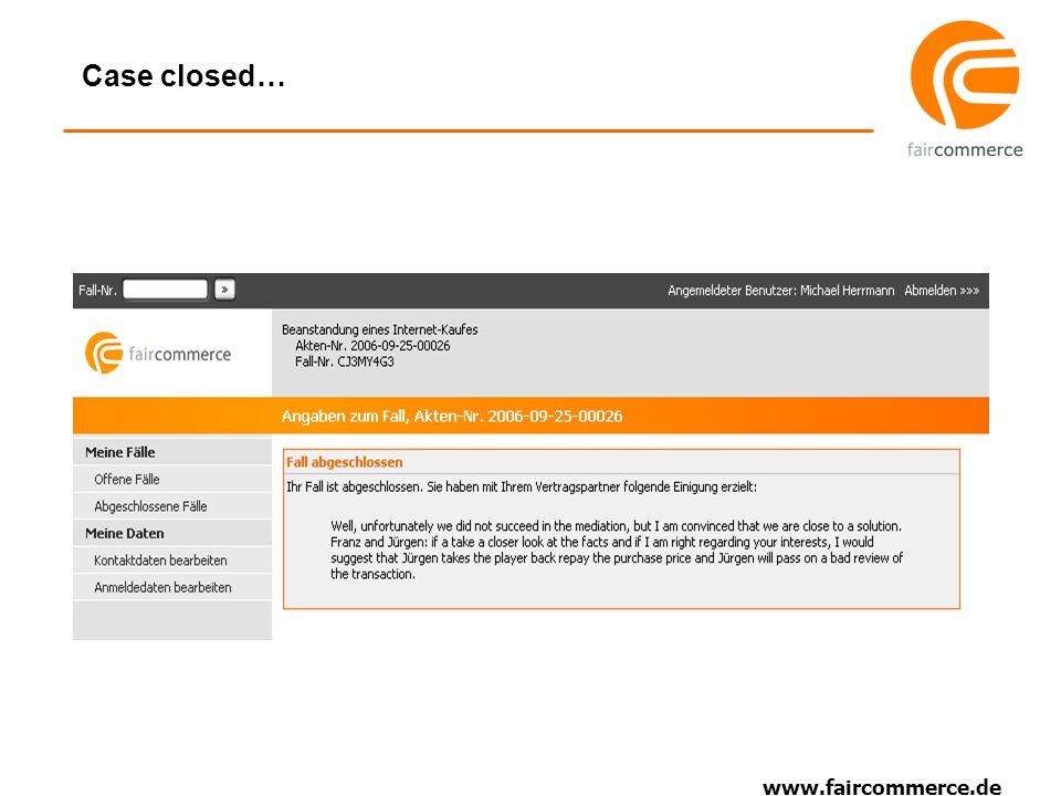 www.faircommerce.de Case closed…