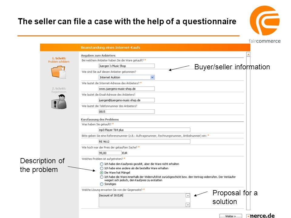 www.faircommerce.de Each party has to accept the proposal accept reject proposal