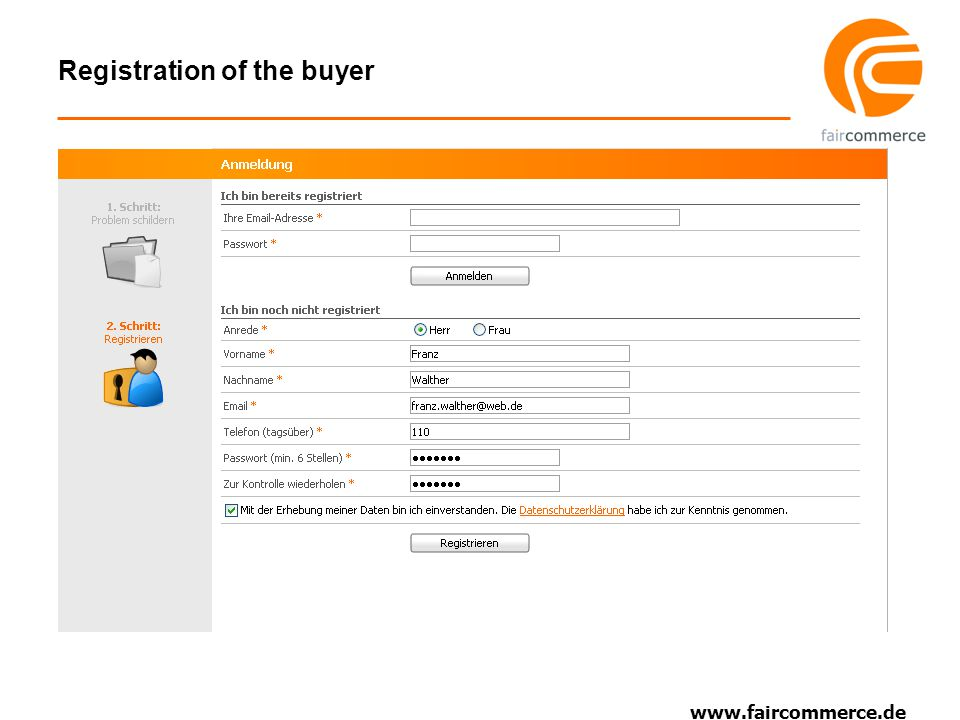 www.faircommerce.de Registration of the buyer