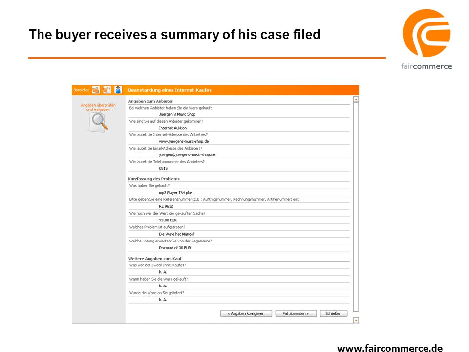 www.faircommerce.de The seller is informed about the new case