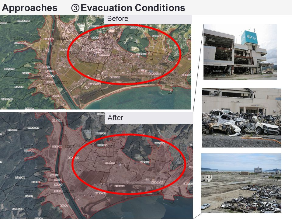 Before After Approaches ③ Evacuation Conditions