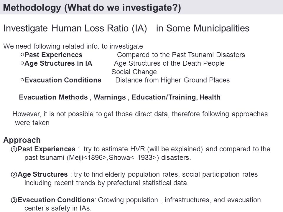 Investigate Human Loss Ratio (IA) in Some Municipalities We need following related info.
