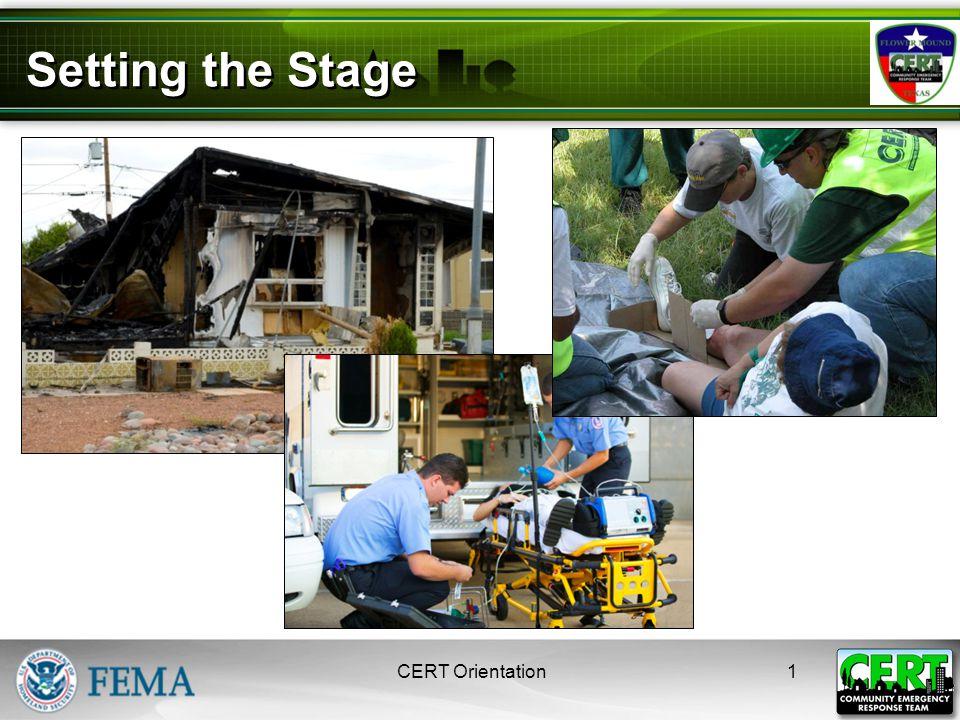 Unit 1: Disaster Preparedness CERT Basic Training 2008 Setting the Stage 1CERT Orientation