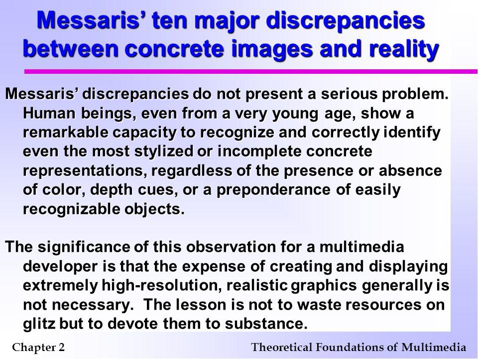 Messaris' ten major discrepancies between concrete images and reality Messaris' discrepancies do not present a serious problem.