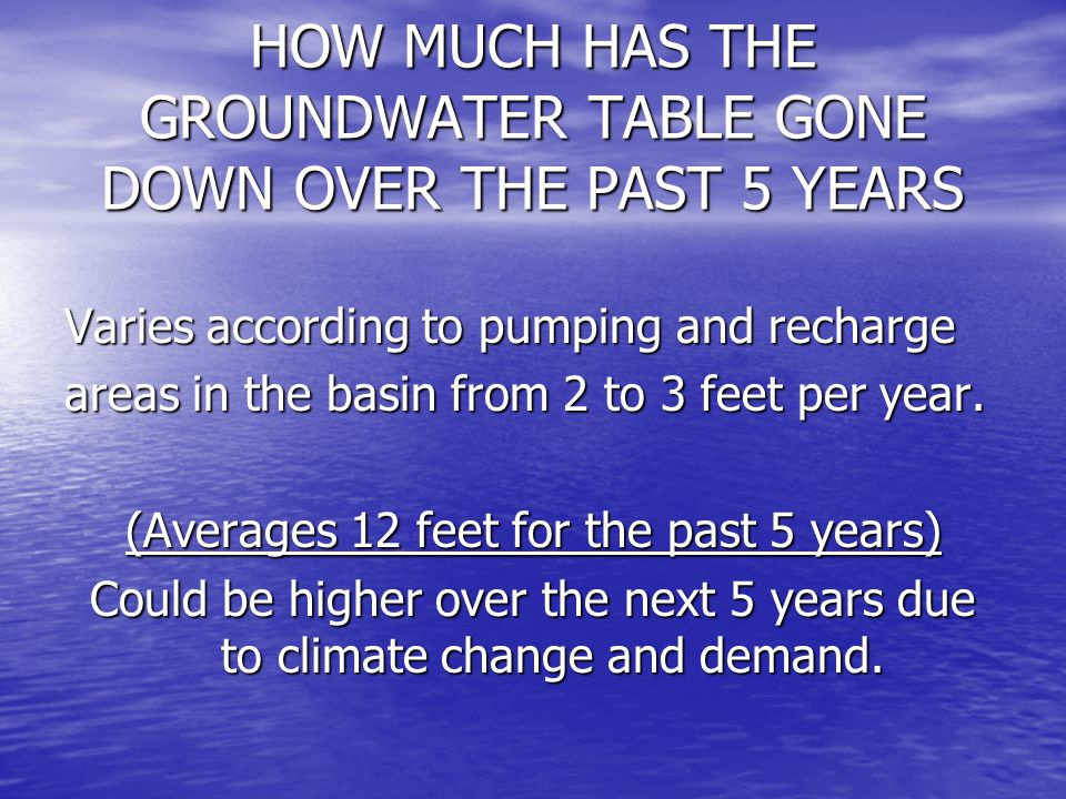 HOW MUCH HAS THE GROUNDWATER TABLE GONE DOWN OVER THE PAST 5 YEARS Varies according to pumping and recharge areas in the basin from 2 to 3 feet per ye