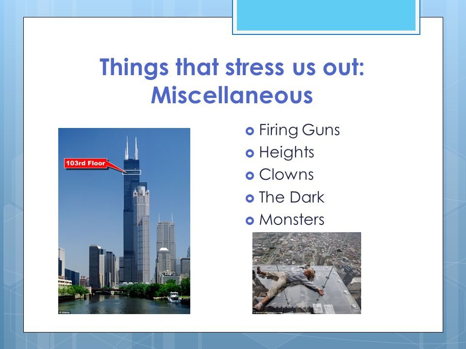 Things that stress us out: Miscellaneous  Firing Guns  Heights  Clowns  The Dark  Monsters