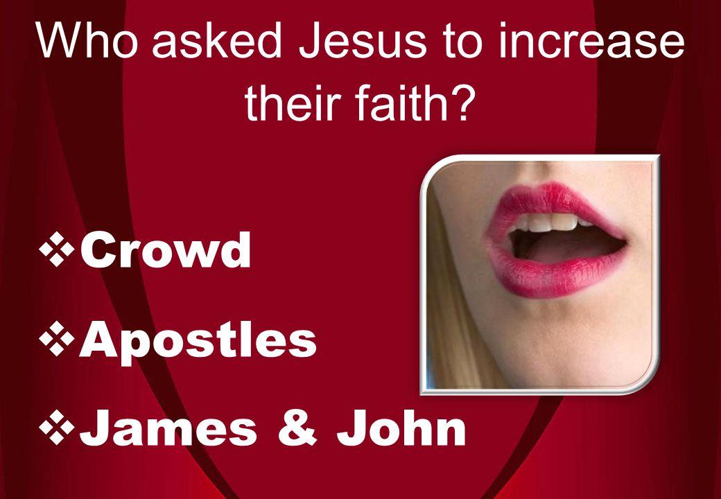  Crowd  Apostles  James & John Who asked Jesus to increase their faith
