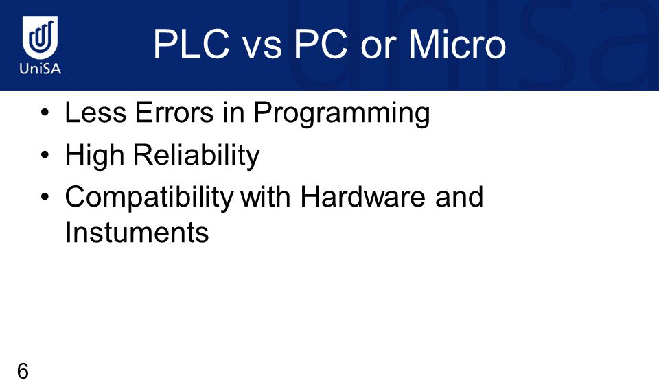 PLC vs PC or Micro Less Errors in Programming High Reliability Compatibility with Hardware and Instuments 6