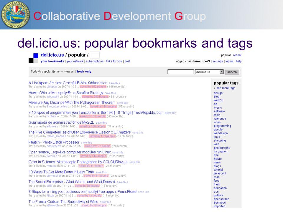 del.icio.us: popular bookmarks and tags