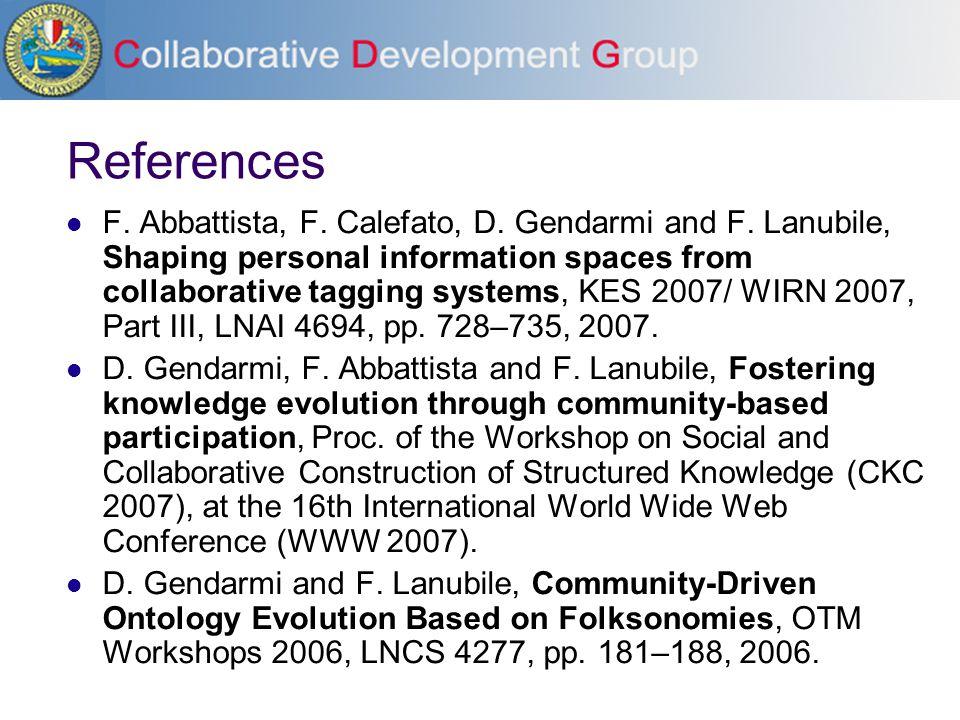 References F. Abbattista, F. Calefato, D. Gendarmi and F.