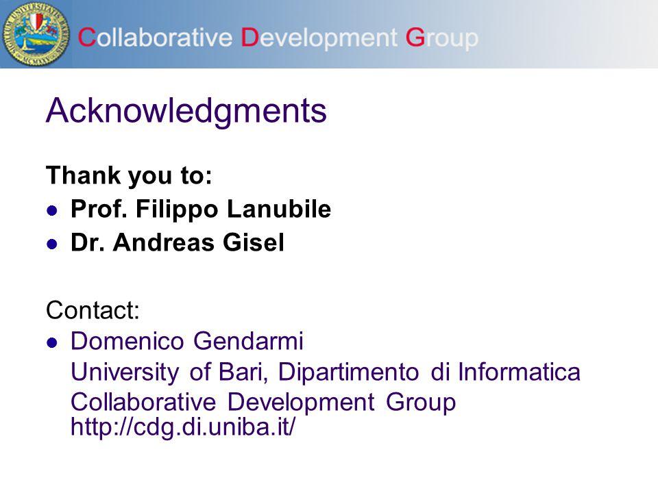 Acknowledgments Thank you to: Prof. Filippo Lanubile Dr. Andreas Gisel Contact: Domenico Gendarmi University of Bari, Dipartimento di Informatica Coll
