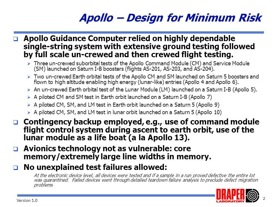 3 Version 1.0 Apollo/Constellation – Same or Different.