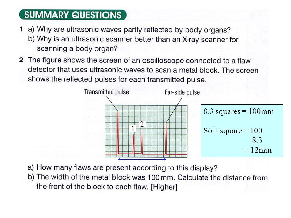 2 8.3 squares = 100mm So 1 square = 100 8.3 = 12mm 1