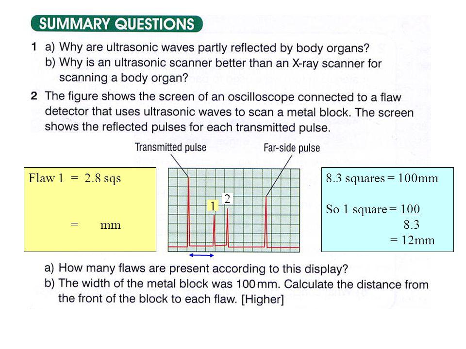 2 8.3 squares = 100mm So 1 square = 100 8.3 = 12mm 1 Flaw 1 = 2.8 sqs = mm