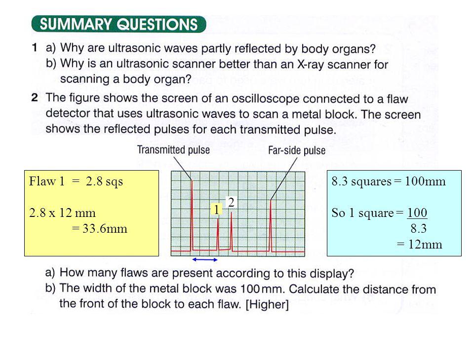 2 8.3 squares = 100mm So 1 square = 100 8.3 = 12mm 1 Flaw 1 = 2.8 sqs 2.8 x 12 mm = 33.6mm