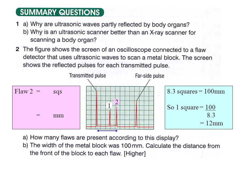 2 8.3 squares = 100mm So 1 square = 100 8.3 = 12mm 1 Flaw 2 = sqs = mm