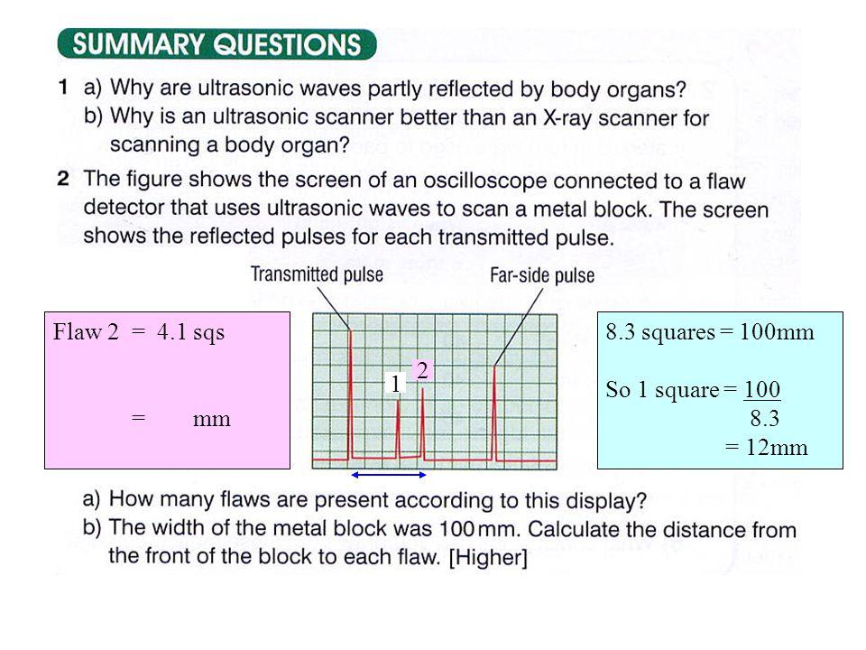 2 8.3 squares = 100mm So 1 square = 100 8.3 = 12mm 1 Flaw 2 = 4.1 sqs = mm