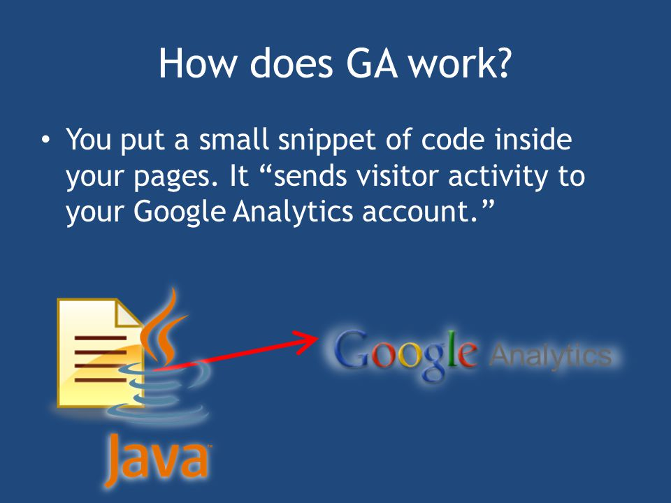 How does GA work. You put a small snippet of code inside your pages.