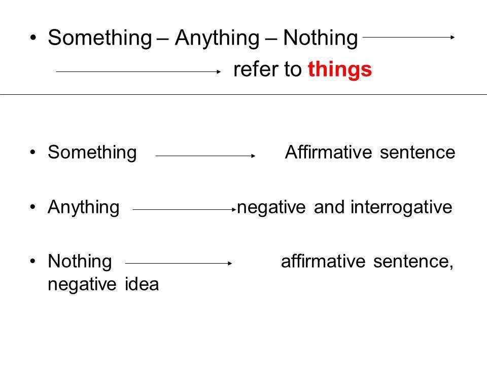 Something – Anything – Nothing refer to things Something Affirmative sentence Anything negative and interrogative Nothing affirmative sentence, negative idea