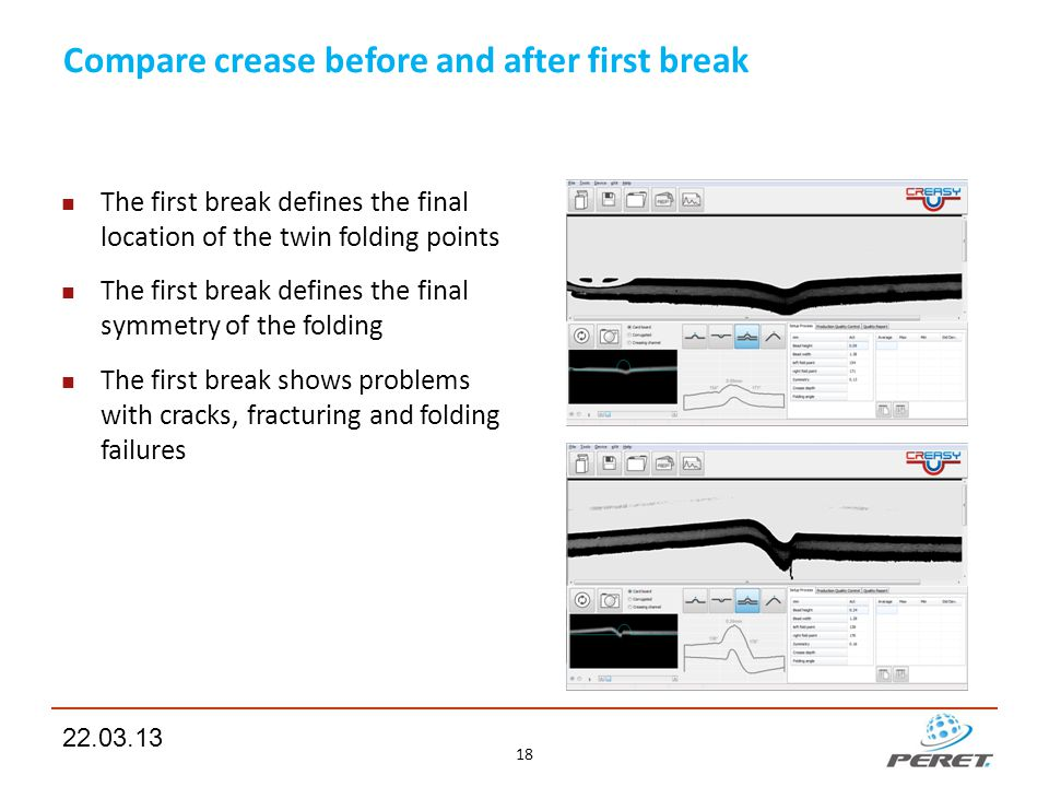 Compare crease before and after first break The first break defines the final location of the twin folding points The first break defines the final sy