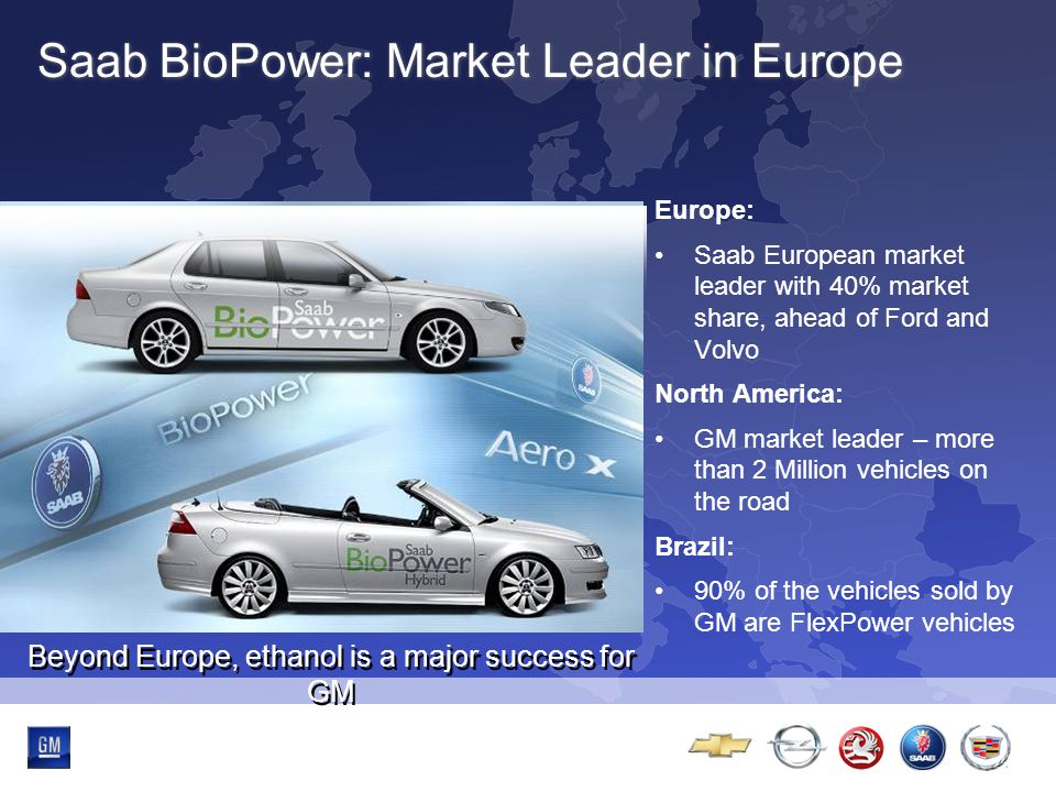 Multibrand-Event Saab BioPower: Market Leader in Europe Europe: Saab European market leader with 40% market share, ahead of Ford and Volvo North America: GM market leader – more than 2 Million vehicles on the road Brazil: 90% of the vehicles sold by GM are FlexPower vehicles Beyond Europe, ethanol is a major success for GM