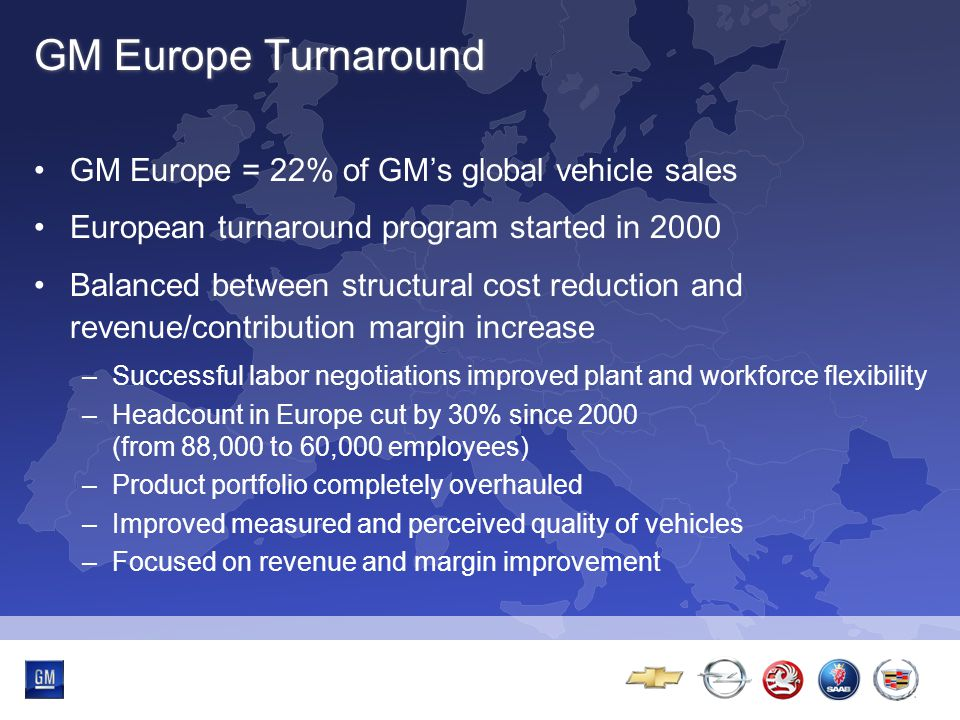 Multibrand-Event GM Europe Turnaround GM Europe = 22% of GM's global vehicle sales European turnaround program started in 2000 Balanced between structural cost reduction and revenue/contribution margin increase –Successful labor negotiations improved plant and workforce flexibility –Headcount in Europe cut by 30% since 2000 (from 88,000 to 60,000 employees) –Product portfolio completely overhauled –Improved measured and perceived quality of vehicles –Focused on revenue and margin improvement