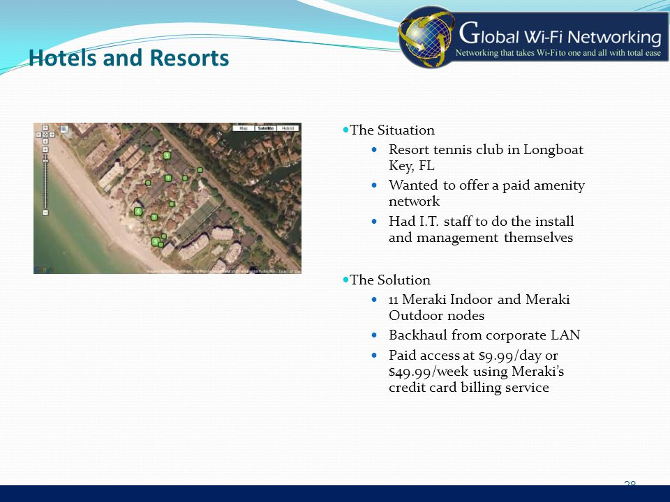 Hotels and Resorts The Situation Resort tennis club in Longboat Key, FL Wanted to offer a paid amenity network Had I.T.