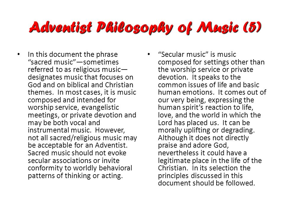 In this document the phrase sacred music —sometimes referred to as religious music— designates music that focuses on God and on biblical and Christian themes.