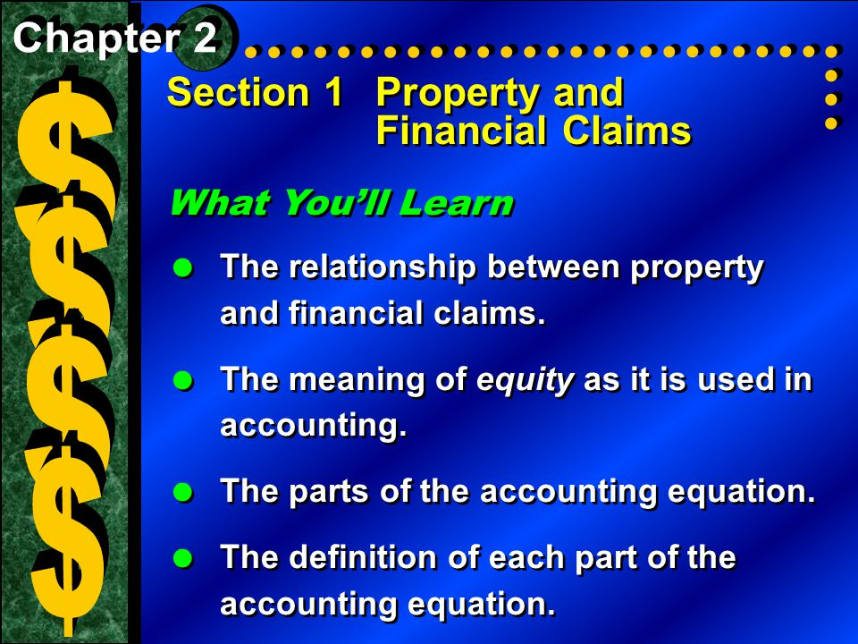 Section 1Property and Financial Claims What You'll Learn  The relationship between property and financial claims.  The meaning of equity as it is us