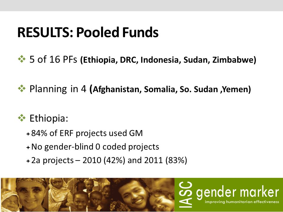RESULTS: Pooled Funds  5 of 16 PFs (Ethiopia, DRC, Indonesia, Sudan, Zimbabwe)  Planning in 4 ( Afghanistan, Somalia, So. Sudan,Yemen)  Ethiopia: 