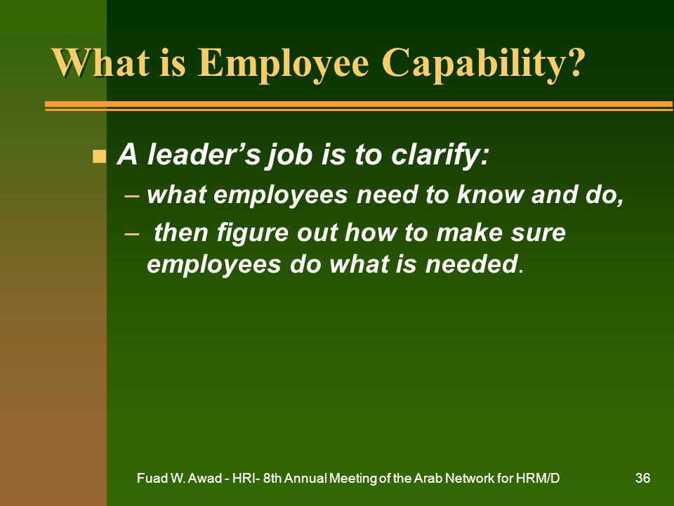 Fuad W. Awad - HRI- 8th Annual Meeting of the Arab Network for HRM/D36 What is Employee Capability? n A leader's job is to clarify: –what employees ne