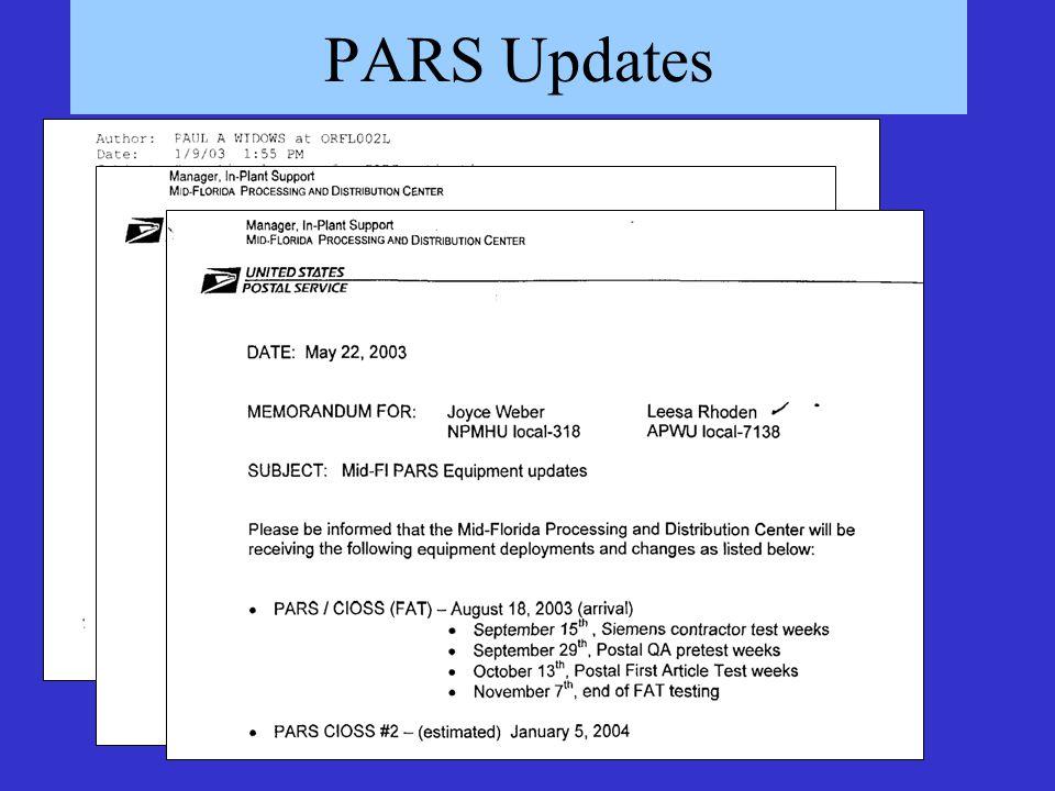 PARS Updates