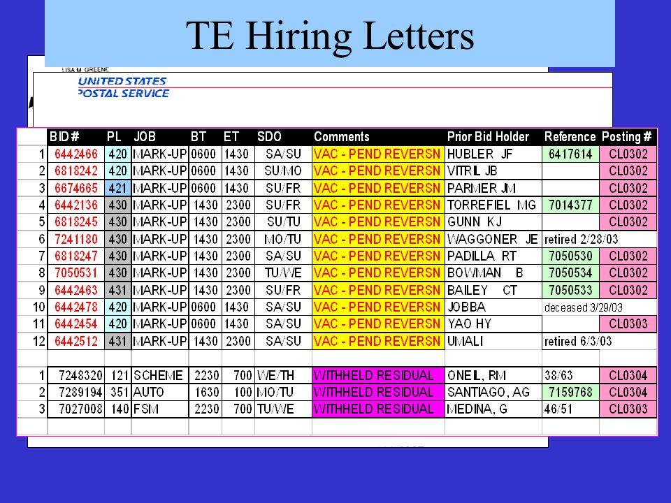 TE Hiring Letters