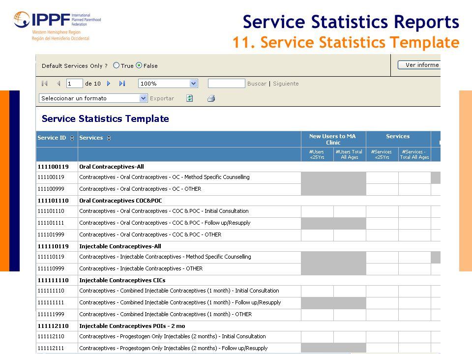 Service Statistics Reports 11. Service Statistics Template