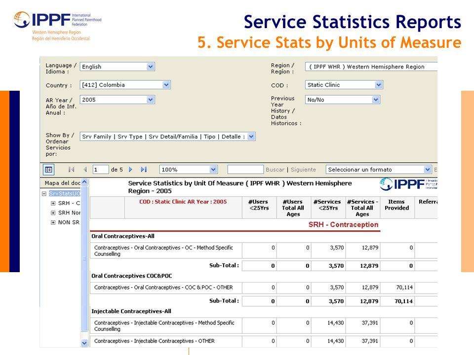 Service Statistics Reports 6. Service Statistics by Service Type