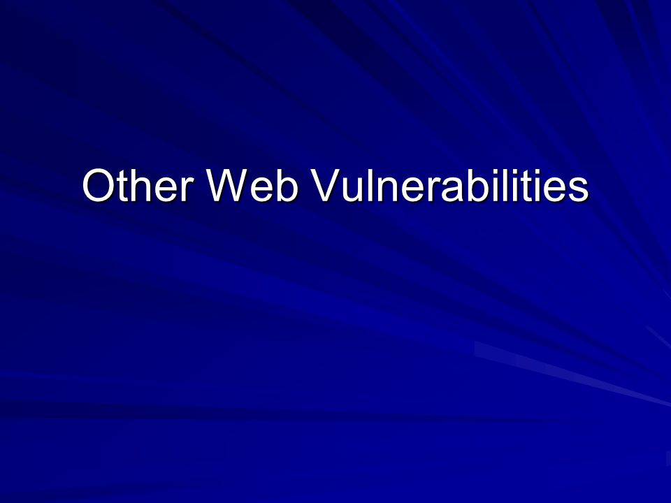 Other Web Vulnerabilities